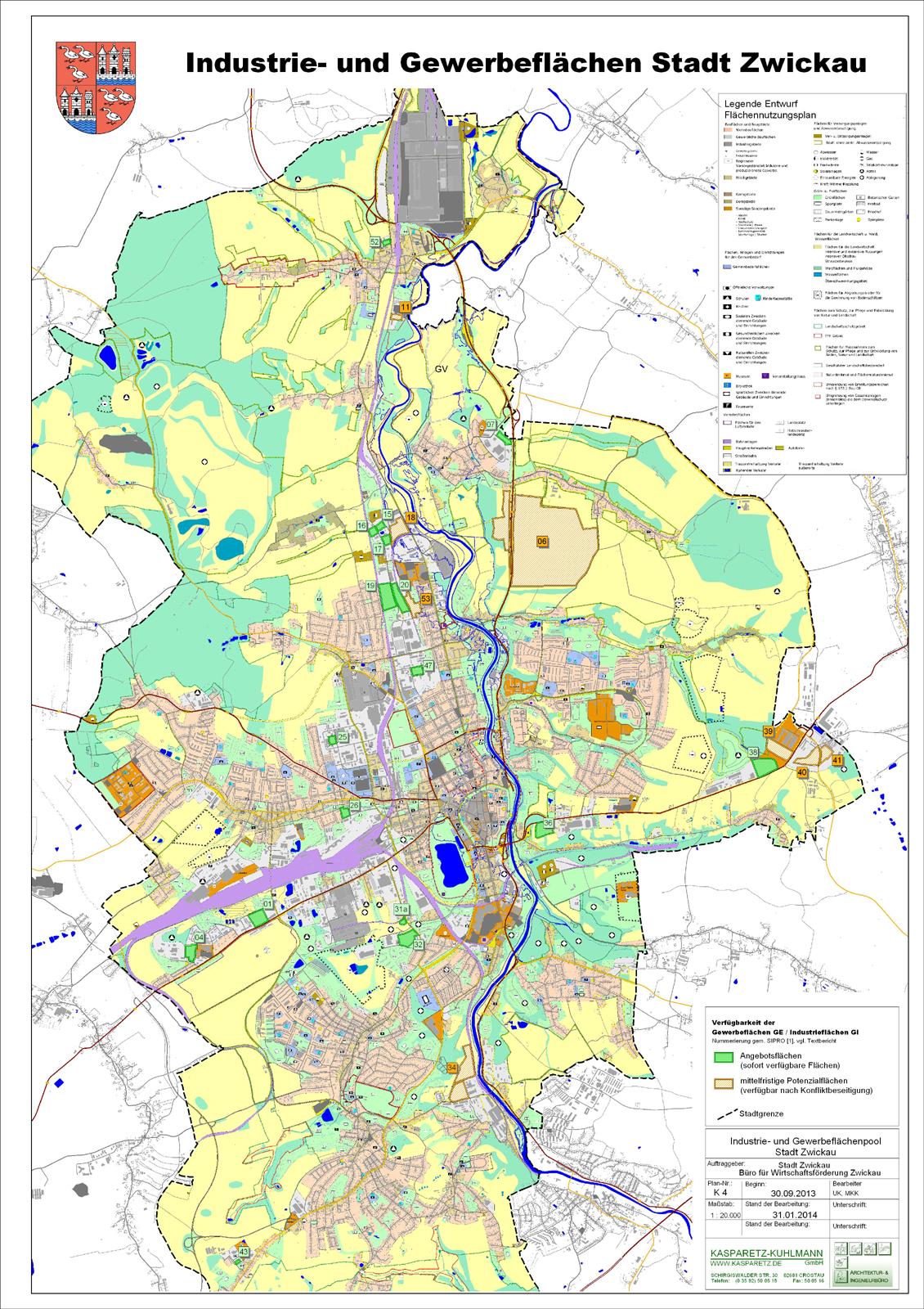 Zwickau Karte.Kasparetz Kuhlmann Ingenieurbüro Gewerbeflächenstudie Stadt Zwickau